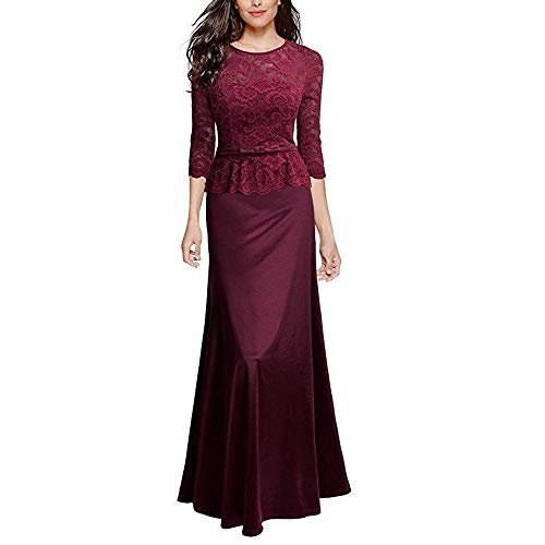 Size Donna Lunghe A Abito Xxl Scollo 2 Red Damigella Wine Cocktail V D'onore Floreale Maniche Chenyongping Pizzo 3 In Navy Blue Da color Sera Con qECvv1w