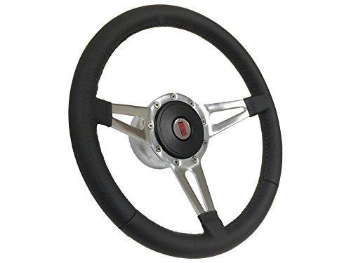 (1969-1972 Oldsmobile 9 Bolt Tri Slot Spoke Black Leather Steering Wheel Kit, Hub, Horn Button & Emblem/Fits Oldsmobile, Cutlass, Cutlass)