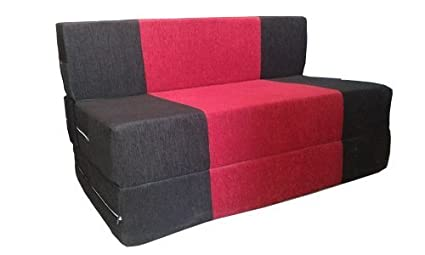 Peachy Space Interior Easy Three Seater Sofa Cum Bed Red And Black Spiritservingveterans Wood Chair Design Ideas Spiritservingveteransorg