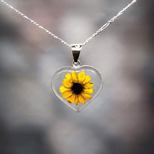 Sterling HEART Necklace with a Real Natural Miniature SUNFLOWER (Symbol of Happiness and Light) in a TRANSPARENT Background with a 17.71 inches Sterling Silver Chain - Perfect LOVE GIFT! -