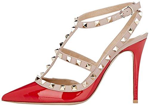 Calaier Mujer Caoften Tacón De Aguja 12CM Sintético Hebilla Sandalias de vestir Zapatos Rojo B