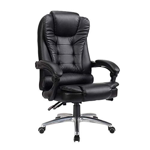 WXF Swivel Chairs Office, PC Gaming Tilt Napping Desk Computer Chairs Leather Recliner Height Adjustable Executive Chair (Color : Black, Size : PU Leather)