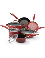 Rachael Ray Porcelain Enamel II Nonstick 10-Piece Cookware Set, Red Gradient