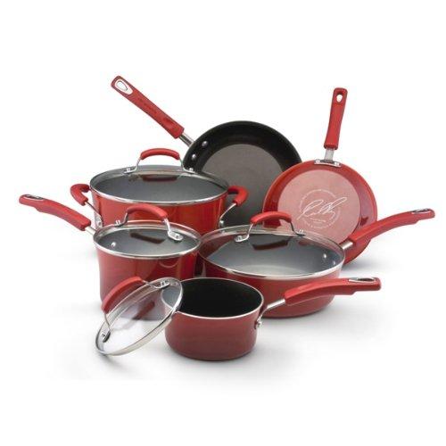 Rachael Ray Porcelain Enamel II Nonstick 10-Piece Cookware Set, Red Gradient