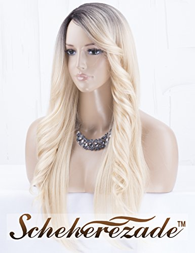 Fashionable Ombre Blonde Synthetic Wig with Wavy Bangs Right