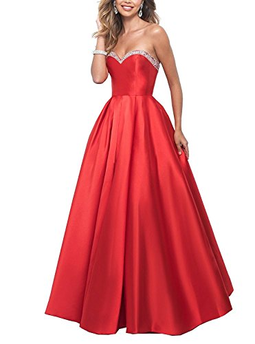 GMAR Sexy Sweetheart Off-The Shoulder A-Line Floor Length Prom Dresses With Beading Beading Sweetheart Neck Floor