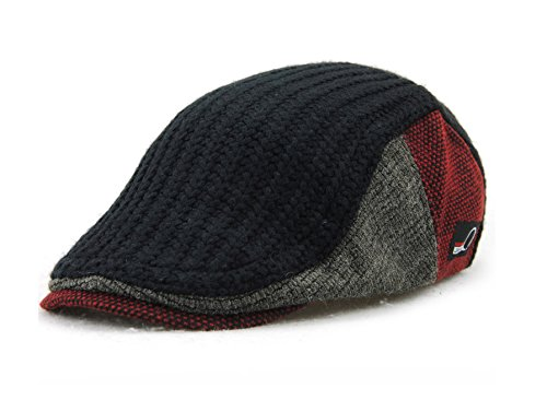 YCHY Men's Knitted Wool duckbill Hat Warm Newsboy Flat Scally Cap (Black) (Duckbill Cap)