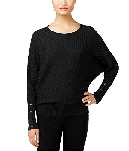 - Alfani Womens Petites Ribbed Knit Dolman Sleeves Pullover Sweater (Petite Medium, Deep Black)