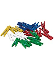 TimeTEX Set Kunststoff-Klammern 35 mm - 250 Stück - Rot - Gelb - Grün - Blau - Weiß Kunststoffklammern für Markierungen - 93048