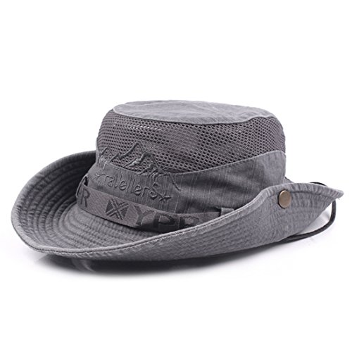 Visor Mesh Sun (KeepSa Mens Summer Cotton Embroidery Visor Bucket Hats Fisherman Hat Outdoor Climbing Mesh Sunshade Cap)