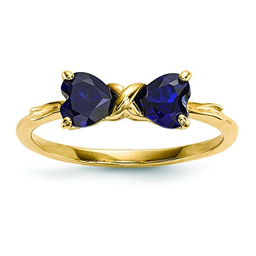 14k Gold Polished Created Sapphire Bow Ring by JewelryWeb