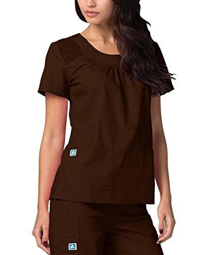 Adar Medical Women's Scoop Neck Smocked Solid Top - 627 - Chocolate Brown - 2X