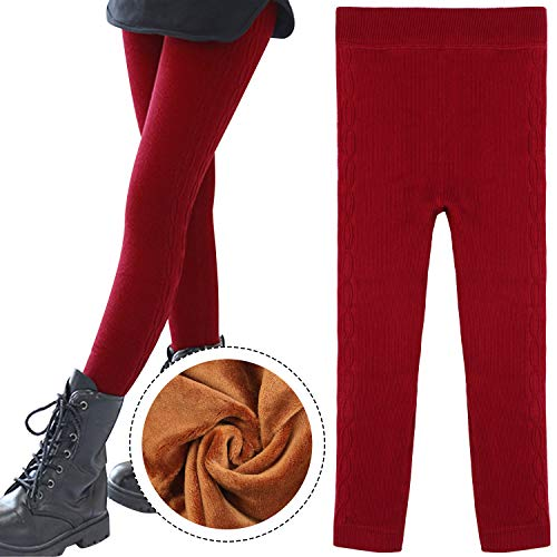 BOOPH Little Girls Winter Warm Velvet Leggings Pant Cotton Cable Knit Fleece Lined Tights for Girls 8-9 Year Old Red