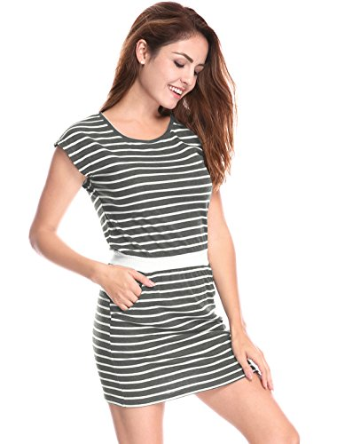 Mini Allegra K Round Neck Women's Contrast Pockets Stripes Gray White Dress Waist 88Bnr6q