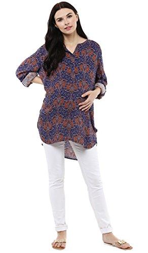 Wobbly Walk Camiseta de maternidad impresa para mujer de cuello redondo de maternidad Azul
