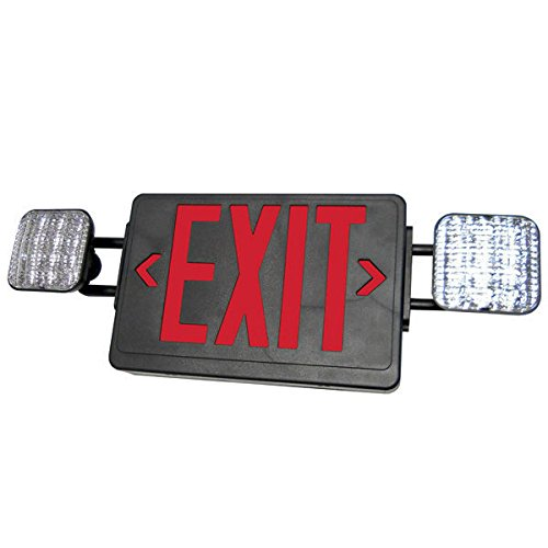 Double Face LED Combination Exit Sign - LED Lamp Heads - Red Letters - 90 Min. Operation - Black 120/277V Exitronix VLED-U-BL-EL90