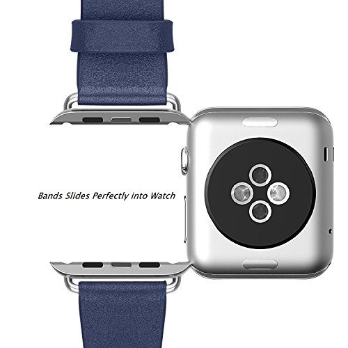 Apple Watch Band, 42mm Genuine Leather Strap Wrist Band Replacement w/ Metal Clasp Classic Buckle & Modern Buckle for Apple Watch All Models 38mm with TPU Case and Tempered Glass Screen Protector(blue)