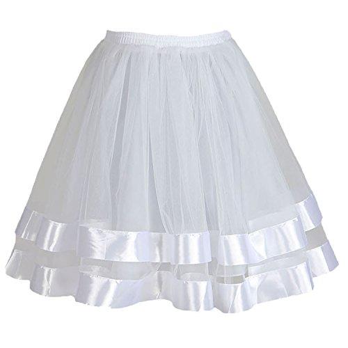 Topdress Women's 1950s Tutu Short Petticoat Skirt Crinoline Underskirt Slip White S/M - Fancy Slip