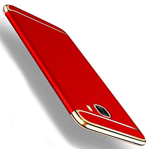 Samsung Galaxy A5 (2017) Hülle, MSVII® 3-in-1 Design PC Hülle Schutzhülle Case Und Displayschutzfolie für Samsung Galaxy A5 (2017) - Rot / RED JY50168