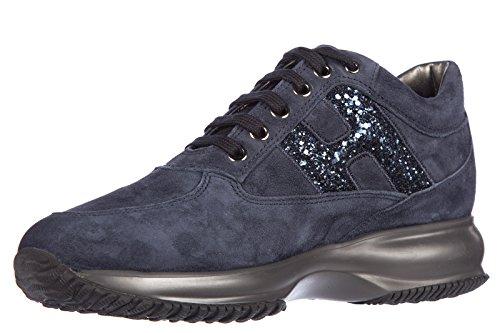 Hogan Damenschuhe Turnschuhe Damen Wildleder Schuhe Sneakers interactive lavorazione h spezzata ricamo blu