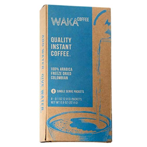 Waka Coffee Quality Instant Coffee, Colombian, Medium Roast | 100% Arabica, Freeze Dried, 8 Single-Serve Packets | Add Water, Give Water