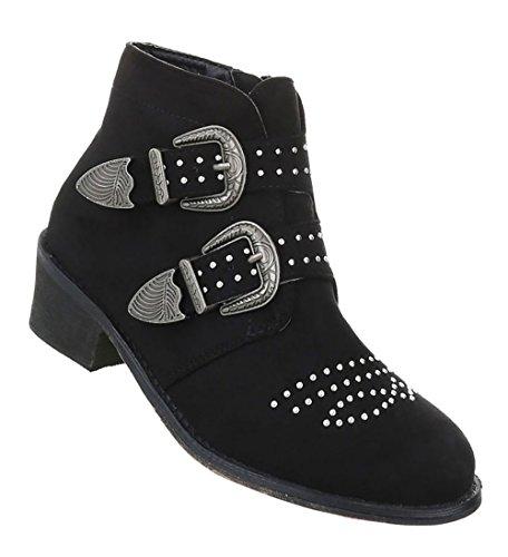 Damen Schuhe Stiefeletten Boots Mit Nieten Schwarz