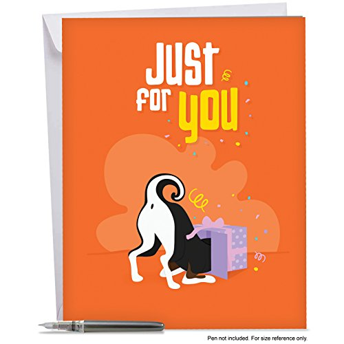 - J6586BBDG Jumbo Birthday Greeting Card: Doggone Awesome Notes, Featuring an Adorable Canine With Its Head Inside a Present and Backside in the Air, With Envelope (Extra Large Size: 8.5