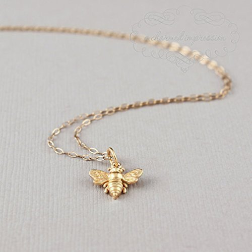 Little Gold Bee Necklace • 24k Vermeil Honeybee/Bumblebee Charm • Simple Everyday Jewelry • Bridesmaid Gift • Garden Themed Wedding • Save the Bees ()