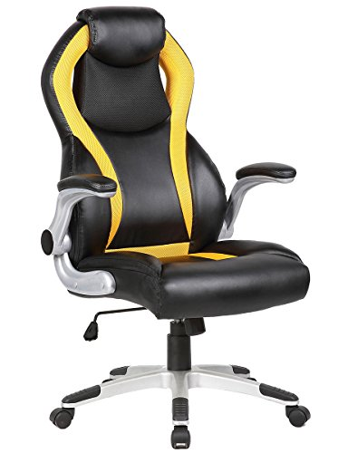 SEATZONE High-back Executive Swivel Office Chair, Adjustable Gaming Chair with Folding Armrest, Racing Car Style Bucket Seat Computer Chair for Working, Studying, E-sports Use, Yellow and Black