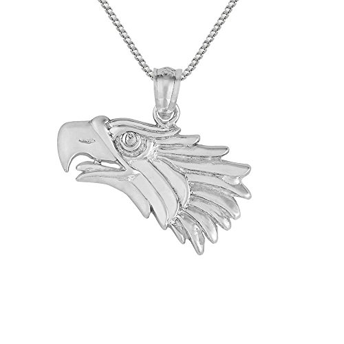 Sterling Silver Eagle Head Pendant / Charm, Made in USA, 18