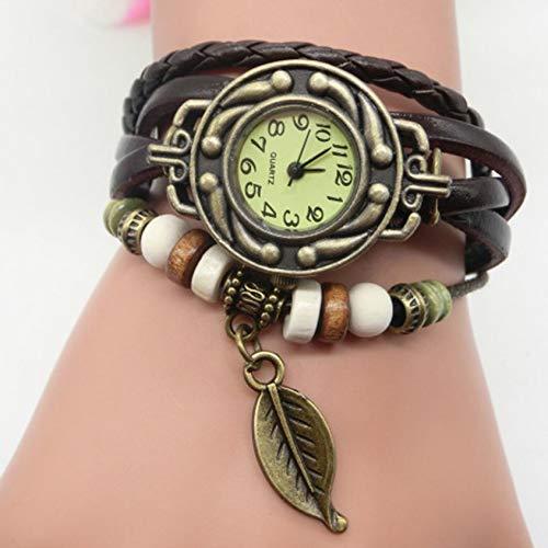 Florenceenid Women's Casual Vintage Multilayer Leaf Faux Leather Bracelet Wrist Watch Ladies Retro Female Clock