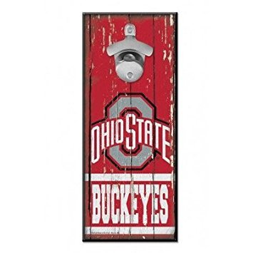WinCraft NCAA Ohio State Buckeyes 5x11 Wood Sign Bottle Opener, Team Colors, 5
