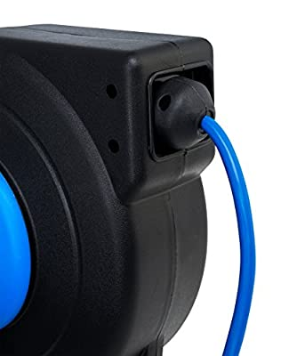 CopperPeak 40 ft Retractable Extension Cord Reel - Ceiling or Wall Mount - 12 gauge - Blue and Black
