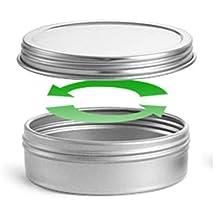 MagnaKoys® Silver Metal Tins w/ Top Lid Continuous Thread Cap craft Organizer Container 1 oz & 2 oz (4, 0.79 x 2.68) by MagnaKoys®