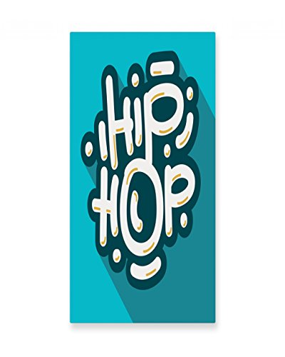 Lunarable Rapper Wall Art, Hip Hop Graffiti Typography Music Dance Beat Culture Graphic Art, Gloss Aluminium Modern Metal Artwork for Wall Decor, 11.6 W X 23.5 L Inches, Petrol Blue Pale Blue Yellow by Lunarable