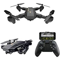 Leewa@ VISUO XS809HW Wifi FPV 0.3MP Camera Foldable Drone, 2.4G 6-Axis Selfie Quadcopter with Headless Mode/Altitude Hold -Black