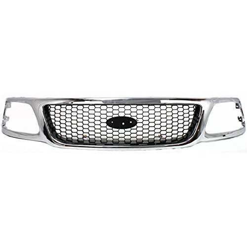 Grille for Ford F-150 99-03/F-250 99-99 Honeycomb Chrome Shell W/Black Insert XL/XLT/Lariat Models 4WD (2000 Ford F150 Lariat)