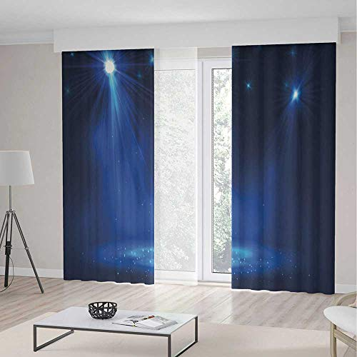 lection,Dark Blue,for Living Room,Smoky Stage Disco Night Club Studio Theater Show Fame Performance2 Panel Set,55W X 82L Inches ()