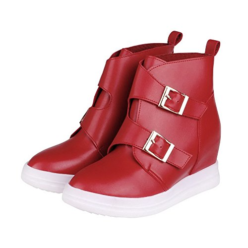 High Red Buckle High Toe Women's Closed Boots Ankle Heels AmoonyFashion Pointed Pqw6aET