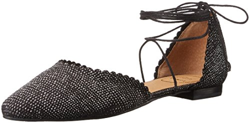 Jack Rogers Women's Camille Sparkle Pointed Toe Flat Black/Silver nmyPkuNNM3