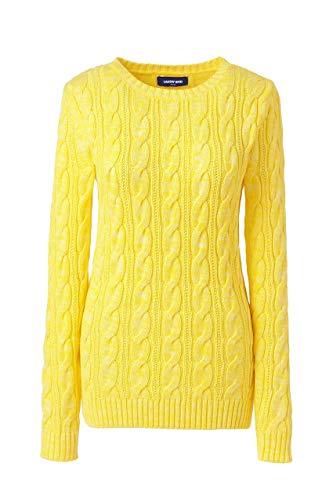 Lands' End Women's Drifter Cotton Cable Knit Sweater Crewneck ()