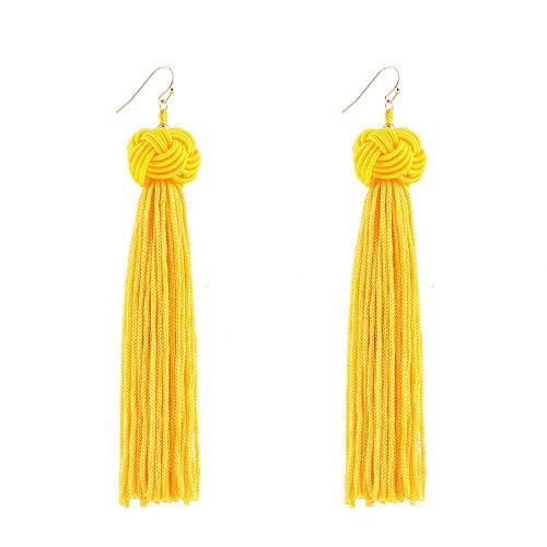 Animal Ball Drop Earring - MUZHE Bohemian Hand-woven Ball Long Tassel Earrings for Women Party Gifts (Yellow)