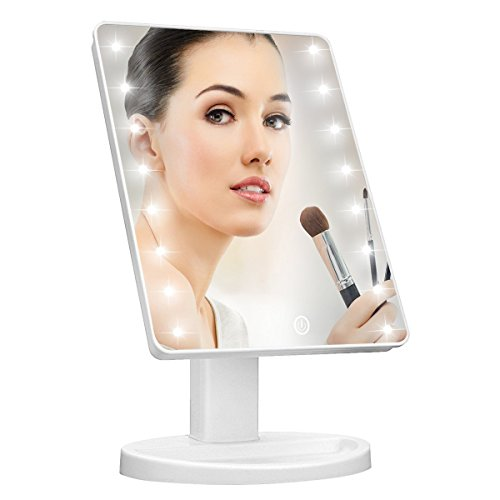 Pretty Angel Lighted Vanity MakeUp Mirror with Smart Dimming Touch Screen Adjustable Brightness 180 Rotation High Definition Clarity Room Decor St. Valentine's Day Gift for Teens Girls Ladies Womens