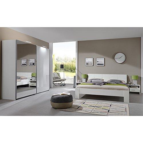 Komplett Schlafzimmer Set Hochglanz weiß 160cm Bett Kleiderschrank Nachtschränke