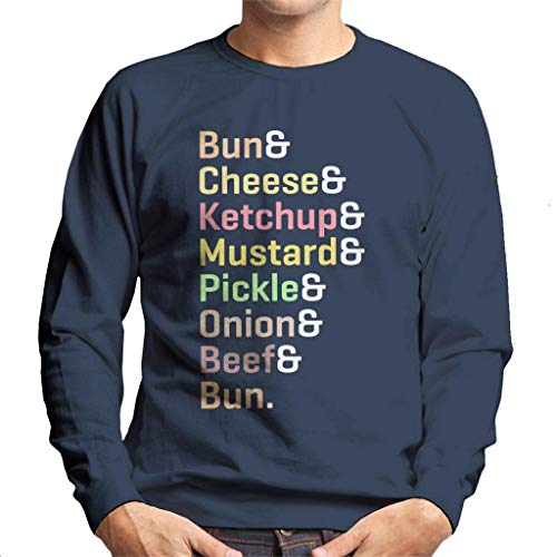 Sweatshirt Cheeseburger Cloud City Men's 7 Blue Navy Text Ingredients 6ZqzA