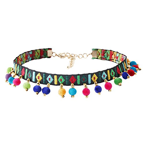 Kissweet Bohemian Colorful Pompom Balls Weaving Embrodered Tassel Pendant Choker Necklace (Colorful) -