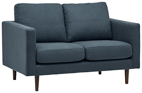 "Rivet Revolve Modern Upholstered Loveseat with Tapered Legs, 56.3""W, Denim"