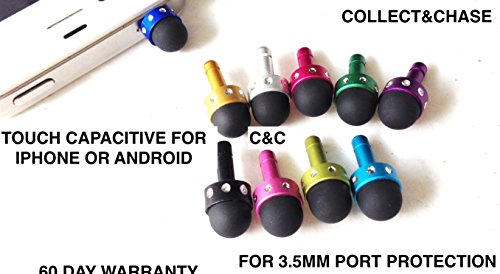 C&C 3.5MM DUST PLUG MINI STYLUS for any 3.5mm device apple iPhone, samsung galaxy, LG, HTC, motorola, or any 3.5mm phone or device ((5 PACK) MIXED COLORS)