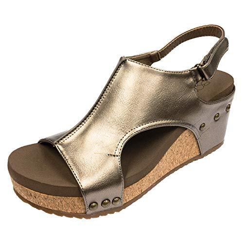 Bronze High Heel Platform - Corkys Footwear Womens Platform Strap Pump(Carley Bronze - Pu,9 M US)