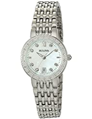 Bulova Womens Quartz Stainless Steel and Silver Plated Casual Watch(Model: 96R203)